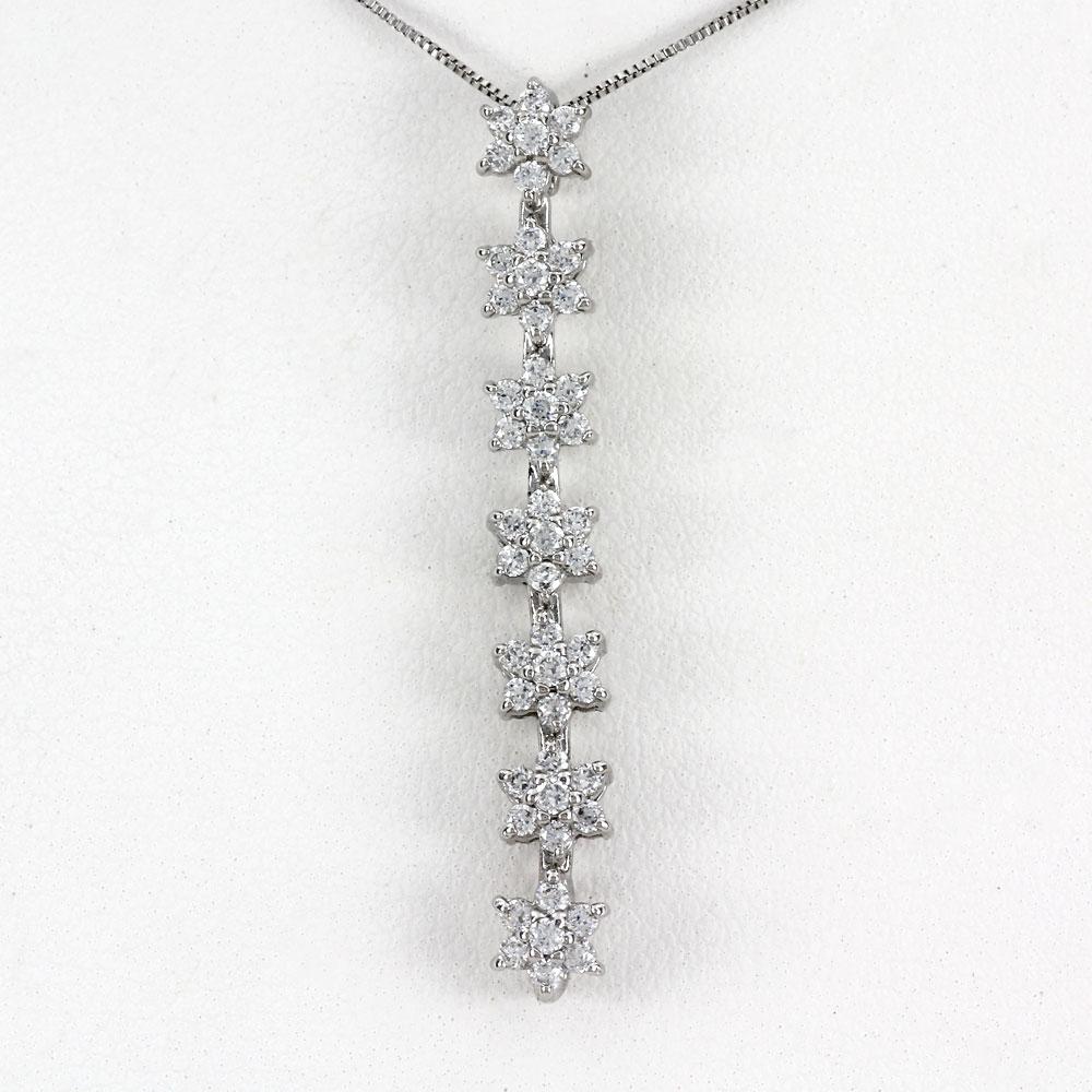 ネックレス ダイヤモンド ペンダント レディース フラワー 花 スター 星 揺れる ブラ ゴージャス 0.5カラット ゴールド k10 10k 10金