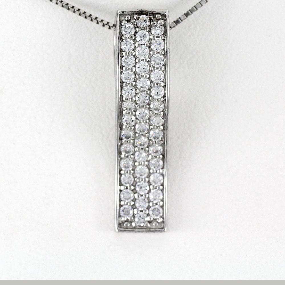 ネックレス ダイヤモンド ペンダント レディース パヴェ スクエア ストレート ゴージャス 0.5カラット ゴールド k18 18k 18金