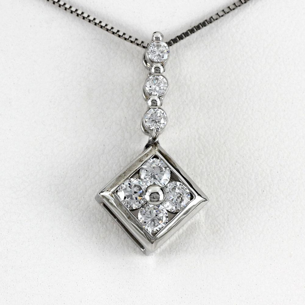 ネックレス ダイヤモンド ペンダント レディース スクエア ひし形 揺れる ブラ ゴールド k18 18k 18金