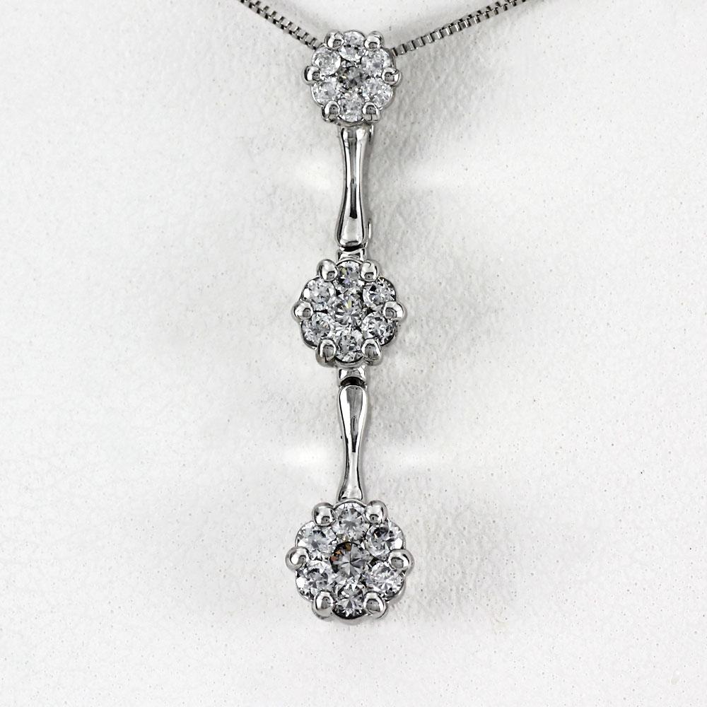 ネックレス ダイヤモンド ペンダント レディース フラワー 花 トリロジー ミステリー 揺れる ブラ ゴールド k18 18k 18金