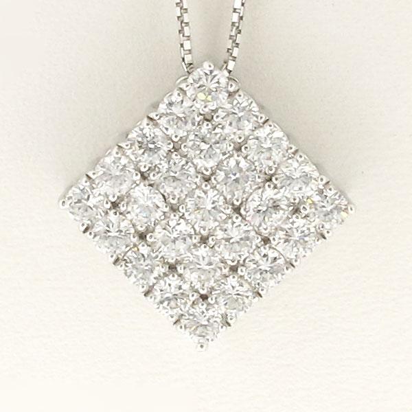 ネックレス ダイヤモンド ペンダント レディース パヴェ ゴージャス スクエア 2.0カラット ゴールド k18 18k 18金