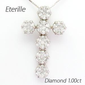 プラチナ ネックレス ダイヤモンド ペンダント レディース クロス 十字架 フラワー 花 ミステリー pt900 1.0カラット ゴージャス