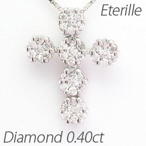 プラチナ ネックレス ダイヤモンド ペンダント レディース クロス 十字架 フラワー 花 ミステリー pt900 0.4