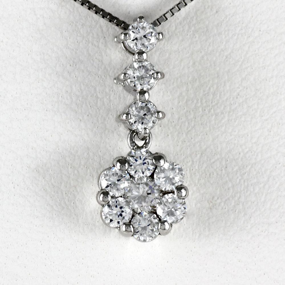 プラチナ ネックレス ダイヤモンド ペンダント レディース フラワー pt900 揺れる ブラ ミステリーセッティング