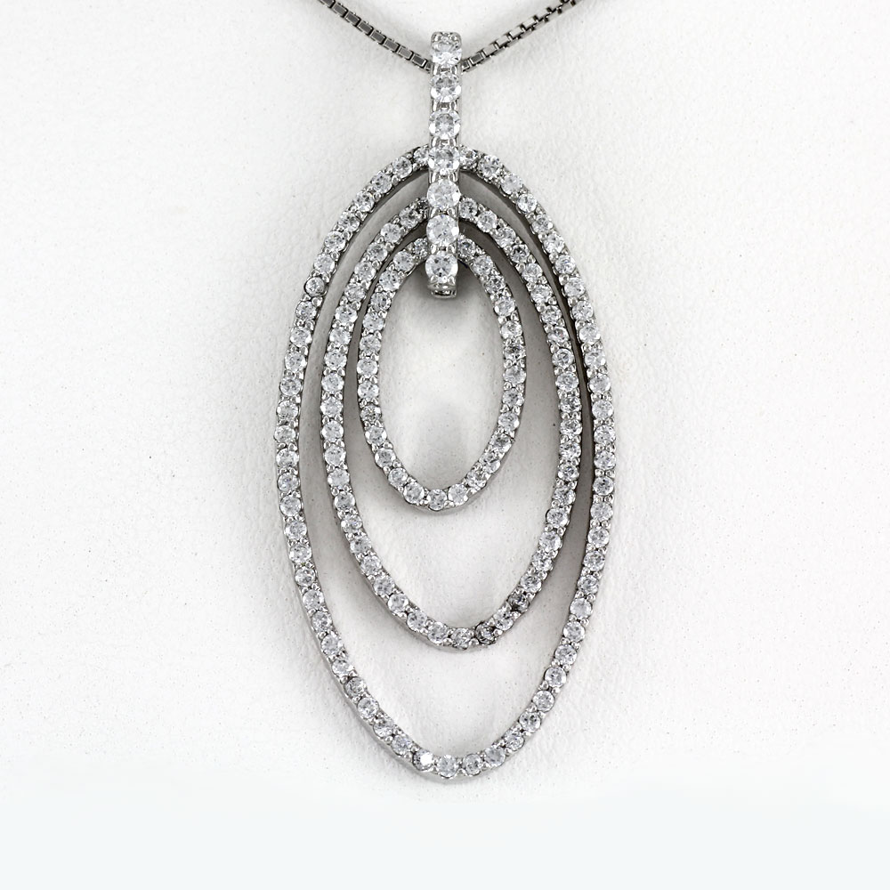 プラチナ ネックレス ダイヤモンド ペンダント レディース オーバル ゴージャス 1.0カラット pt900
