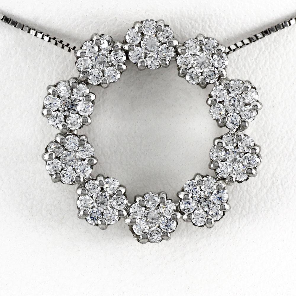 プラチナ ネックレス ダイヤモンド ペンダント レディース フラワー 花 サークル ミステリーセッティング pt900 1.0カラット0