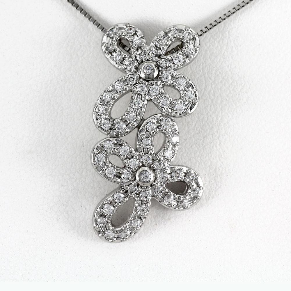 ネックレス ダイヤモンド ペンダント レディース フラワー 花 ゴールド k18 18k 18金