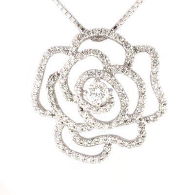 ネックレス ダイヤモンド ペンダント レディース ローズ バラ 薔薇 フラワー ゴールド k10 10k 10金