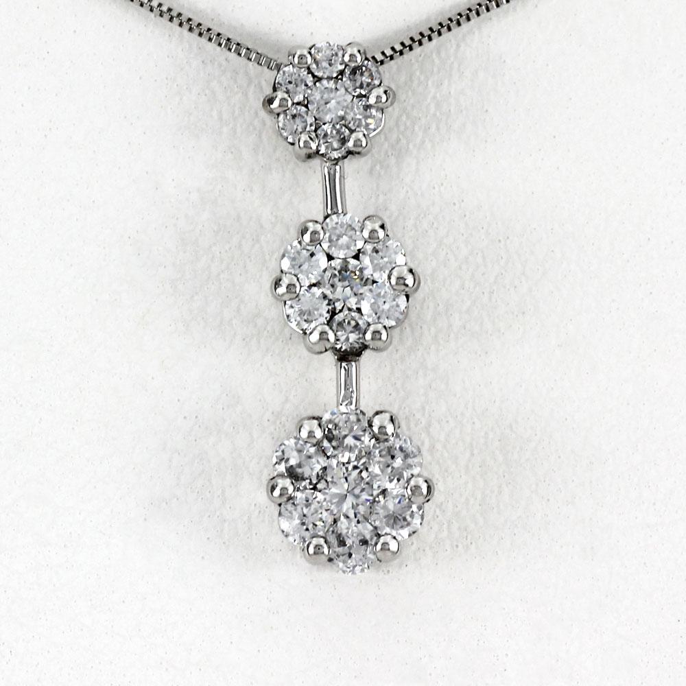プラチナ ネックレス ダイヤモンド ペンダント レディース フラワー 花 トリロジー ミステリー 揺れる ブラ pt900