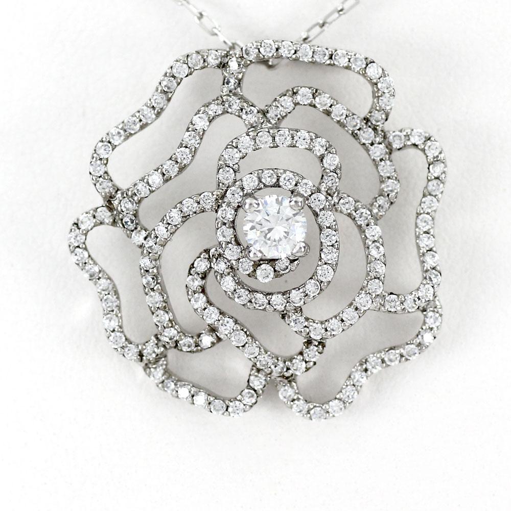 プラチナ ネックレス ダイヤモンド ペンダント レディース ローズ 薔薇 バラ フラワー 花 ゴージャス 1.0カラット pt900
