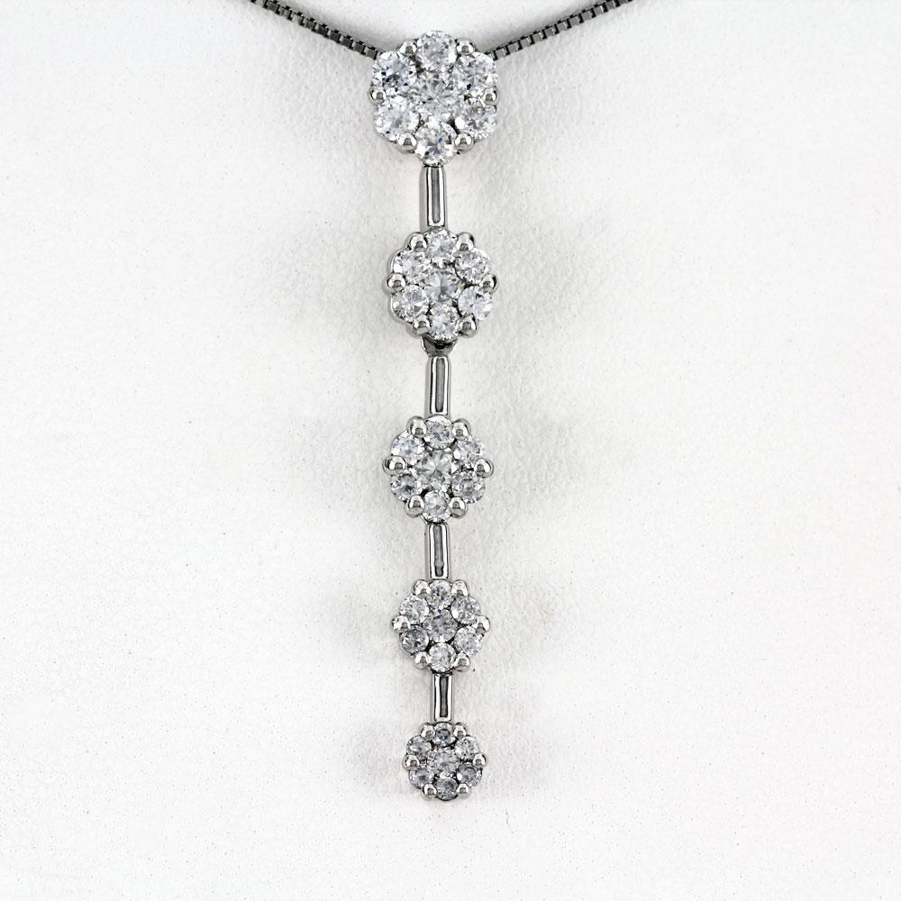 プラチナ ネックレス ダイヤモンド ペンダント レディース フラワー 花 ミステリー 揺れる ブラ pt900