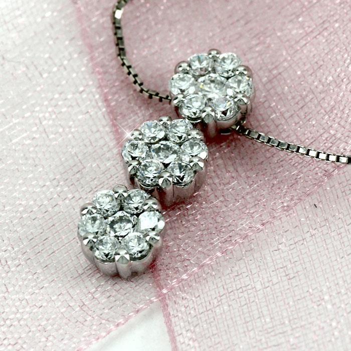 ネックレス ダイヤモンド ペンダント レディース フラワー 揺れる ブラ ミステリーセッティング ゴールド k10 10k 10金bf6Yy7g