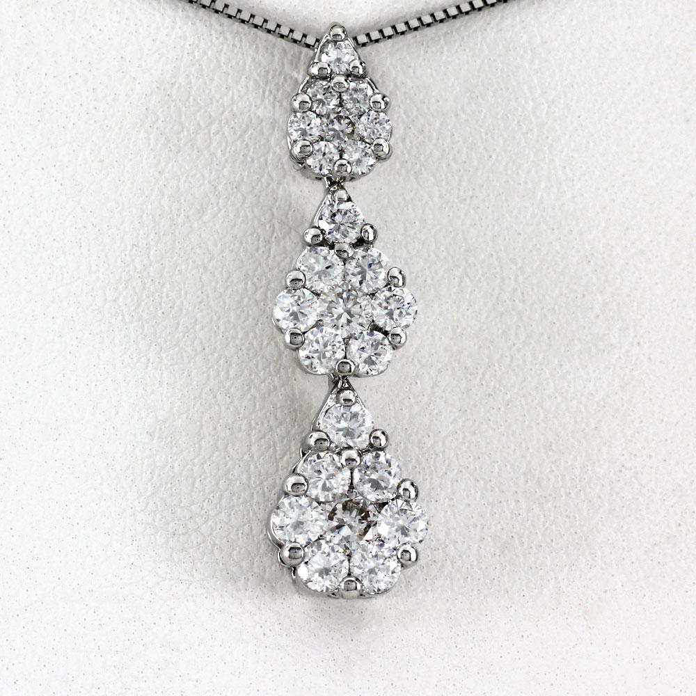 プラチナ ネックレス ダイヤモンド ペンダント レディース ドロップ つゆ トリロジー ミステリー 揺れる ブラ pt900