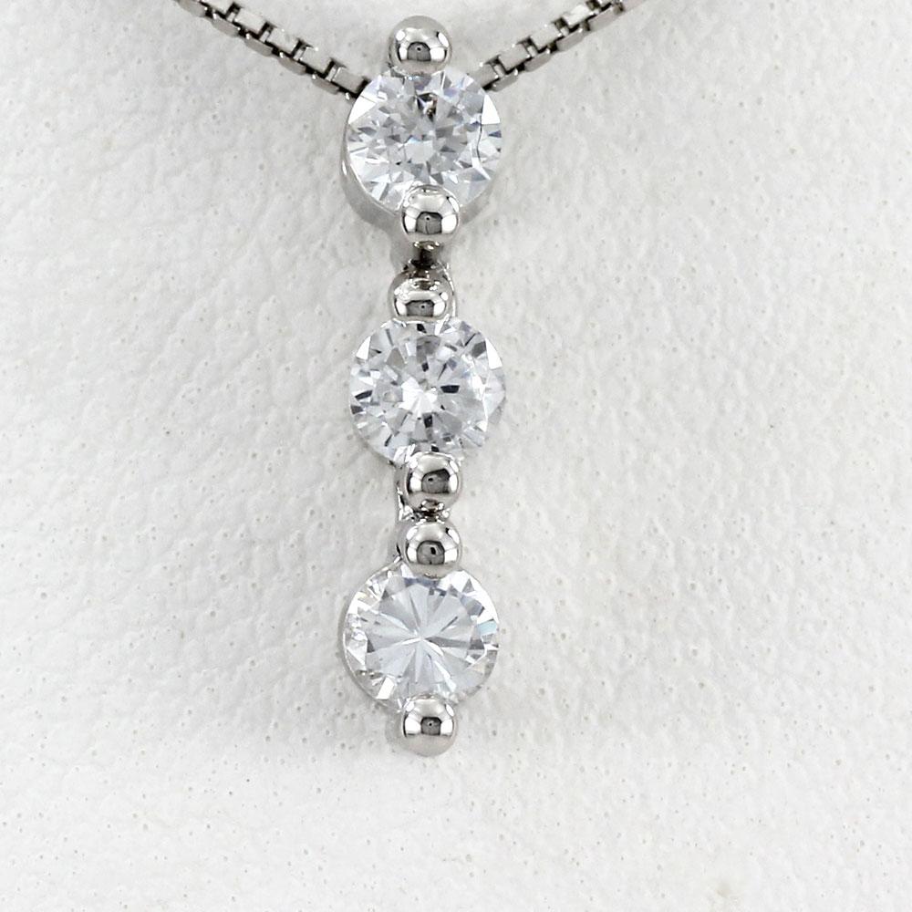 ネックレス ダイヤモンド ペンダント レディース トリロジー スリーストーン 0.3カラット 揺れる スイング ブラ ゴールド k18 18k 18金