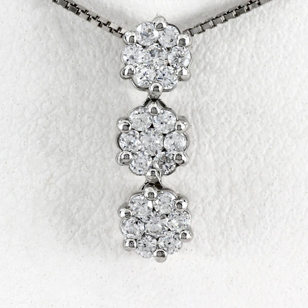 プラチナ ネックレス ダイヤモンド ペンダント レディース フラワー 揺れる ブラ ミステリーセッティング pt900