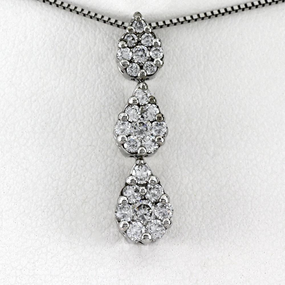 ネックレス ダイヤモンド ペンダント レディース ドロップ つゆ トリロジー ミステリー 揺れる ブラ ゴールド k18 18k 18金