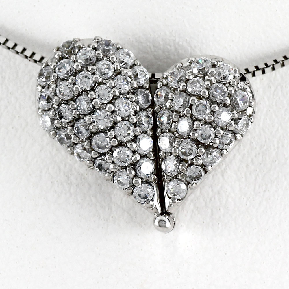 ハート ネックレス ダイヤ ペンダント レディース ダイヤモンド ドロップ パヴェ 2way 2ウェイ ゴールド k18 18k 18金