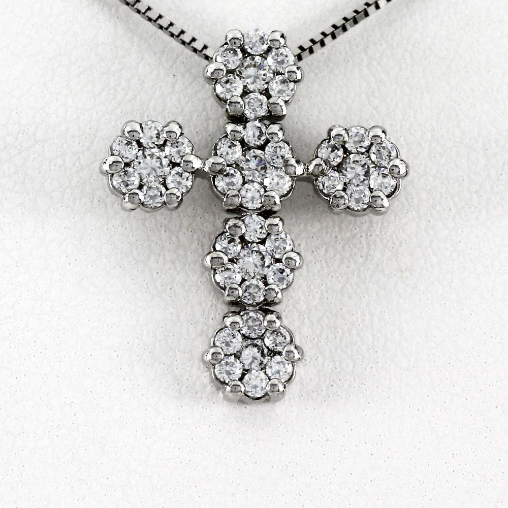 ネックレス ダイヤモンド ペンダント レディース クロス 十字架 フラワー 花 ミステリー ゴールド k18 18k 18金