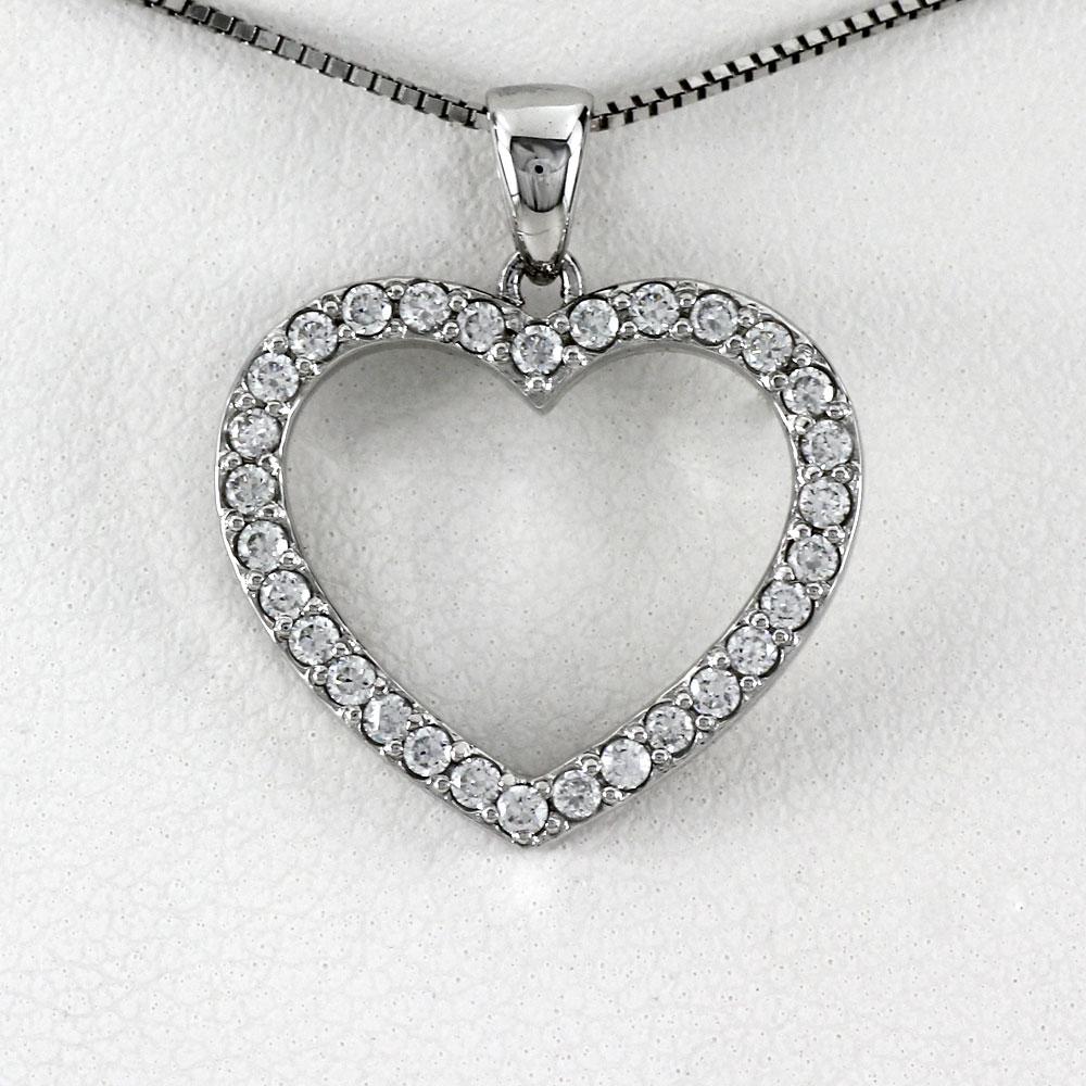 ハート ネックレス ダイヤ ペンダント レディース ダイヤモンド プラチナ オープンハート pt900