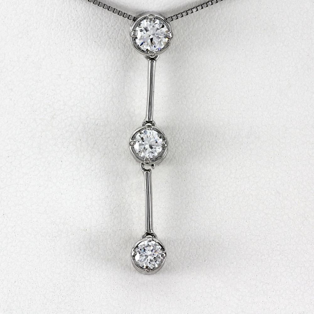 ネックレス ダイヤモンド ペンダント レディース トリロジー スリーストーン 揺れる ブラ ゴールド k18 18k 18金