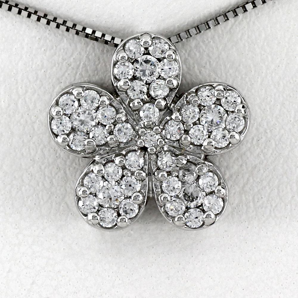 ネックレス ダイヤモンド ペンダント レディース パヴェ フラワー 花 ゴールド k18 18k 18金