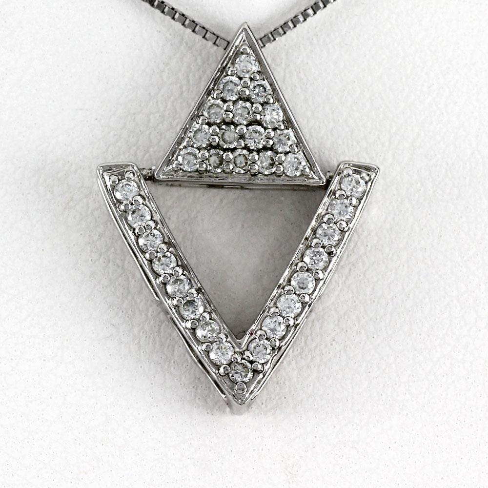 ネックレス ダイヤモンド ペンダント レディース パヴェ 三角 トライアングル ゴールド k18 18k 18金