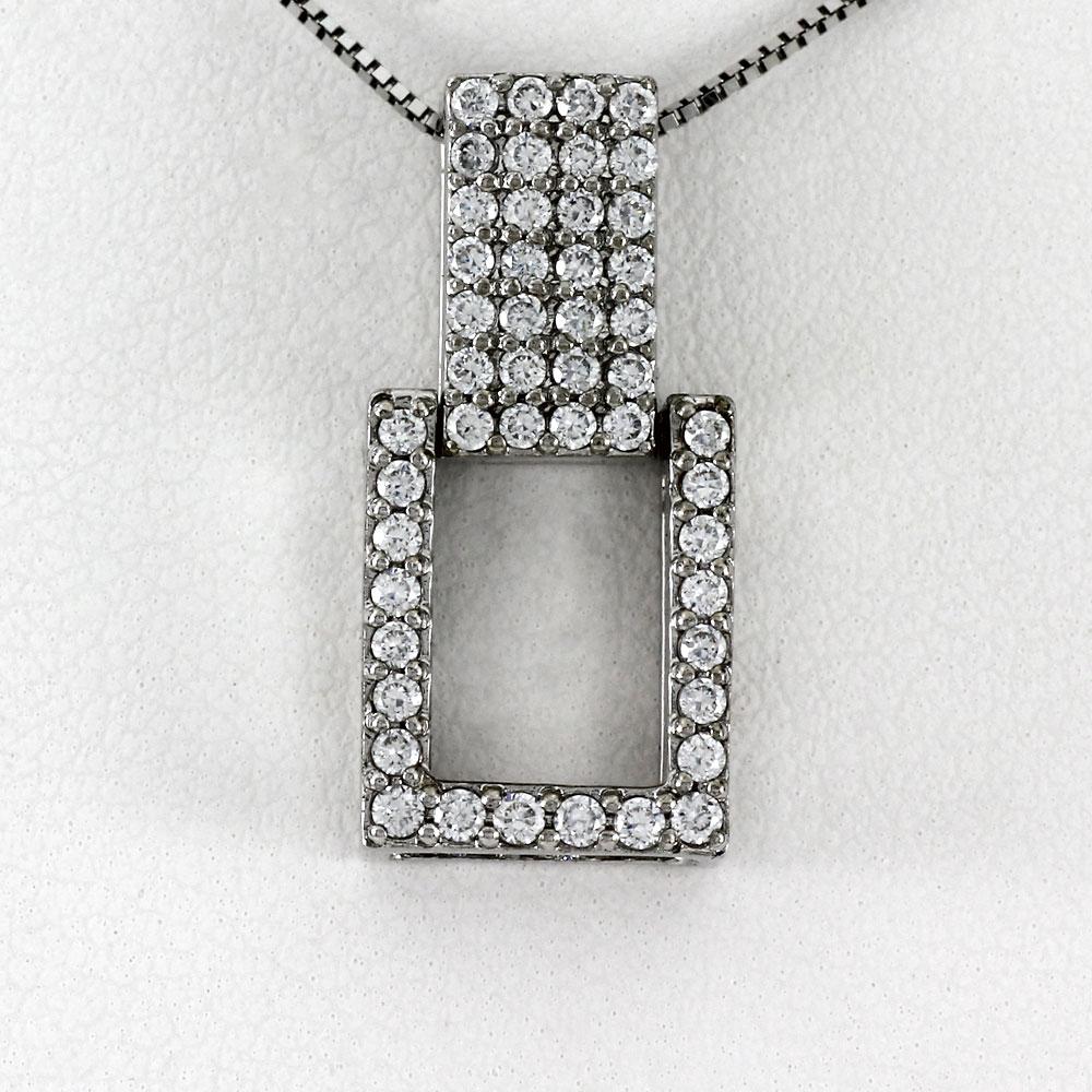 ネックレス ダイヤモンド ペンダント レディース パヴェ スクエア ゴールド k18 18k 18金