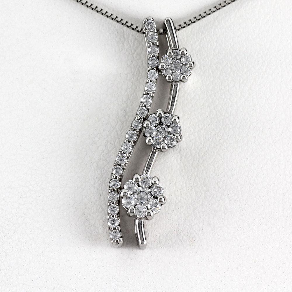 ネックレス ダイヤモンド ペンダント レディース フラワー 花 ミステリーセッティング ゴールド k18 18k 18金