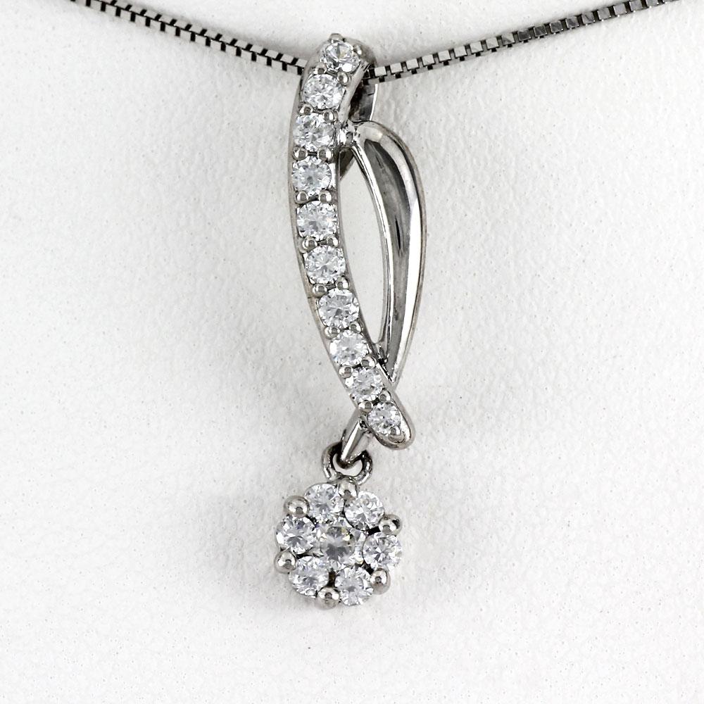 プラチナ ネックレス ダイヤモンド ペンダント レディース フラワー 花 ミステリーセッティング 揺れる ブラ pt900
