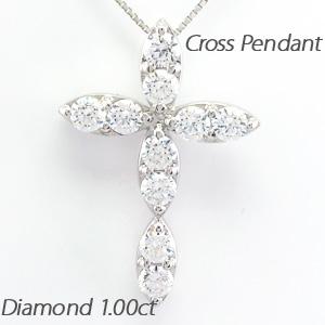 ネックレス ダイヤモンド ペンダント レディース クロス 十字架 マーキス ゴージャス 1.0カラット ゴールド k18 18k 18金