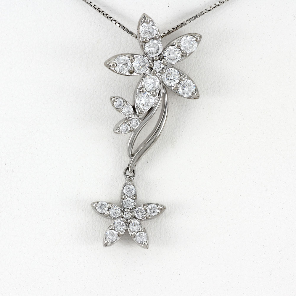 プラチナ ネックレス ダイヤモンド ペンダント レディース フラワー 揺れる ブラ ゴージャス pt900