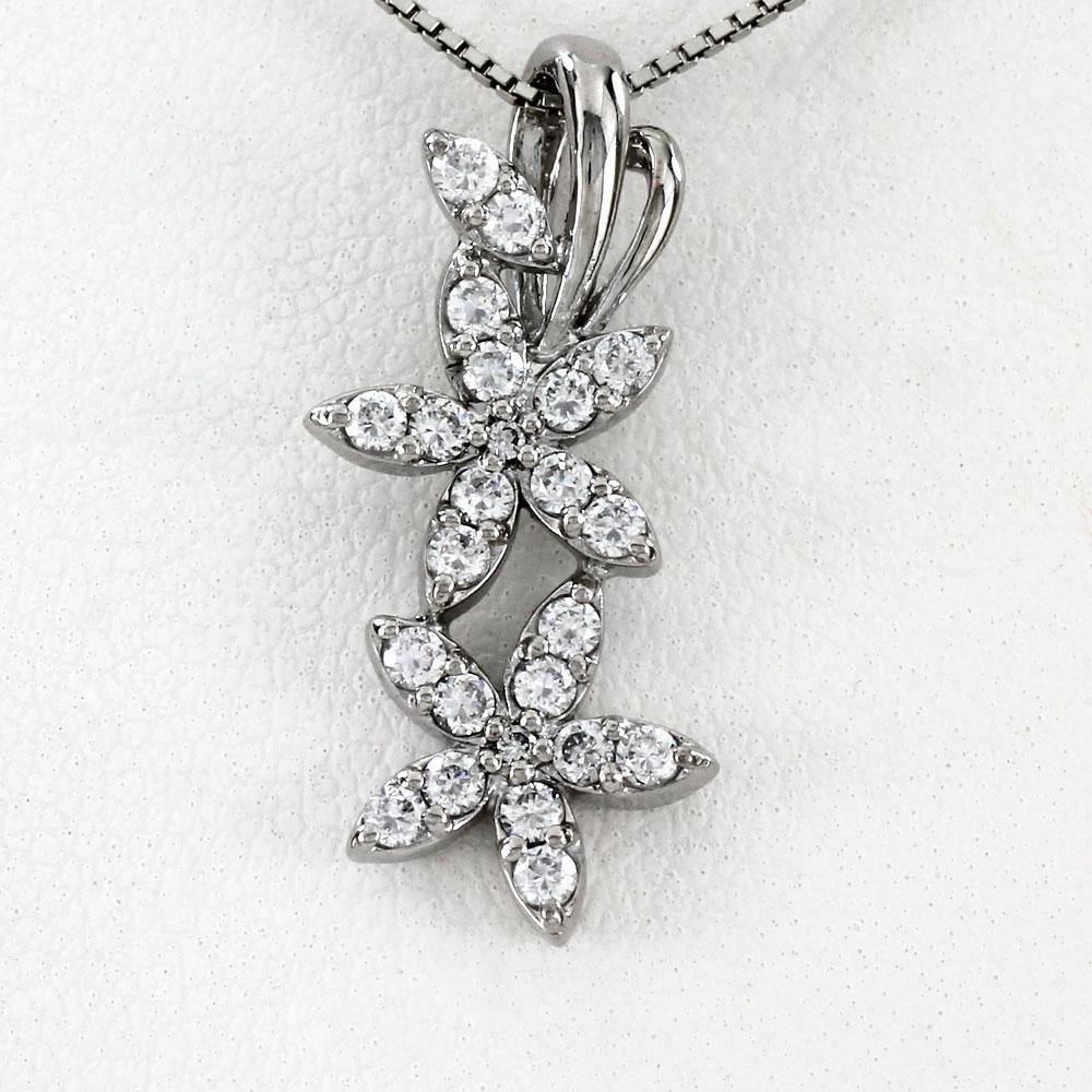 ネックレス ダイヤモンド ペンダント レディース フラワー ゴールド k18 18k 18金
