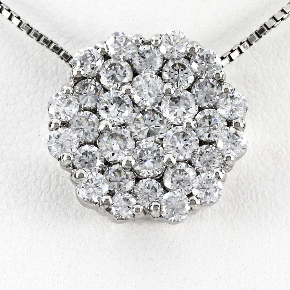 ダイヤモンド ネックレス 18k ペンダント レディース フラワー 花 パヴェ ゴージャス 2.0カラット ゴールド k18 18金