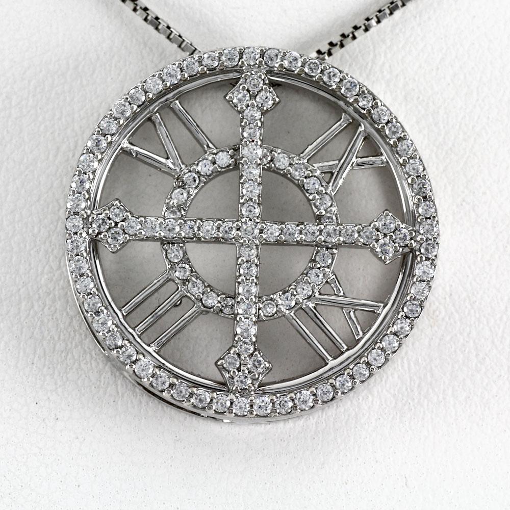 ダイヤモンド ネックレス ペンダント レディース プラチナ アンティーク 時計 クロック ゴージャス pt900
