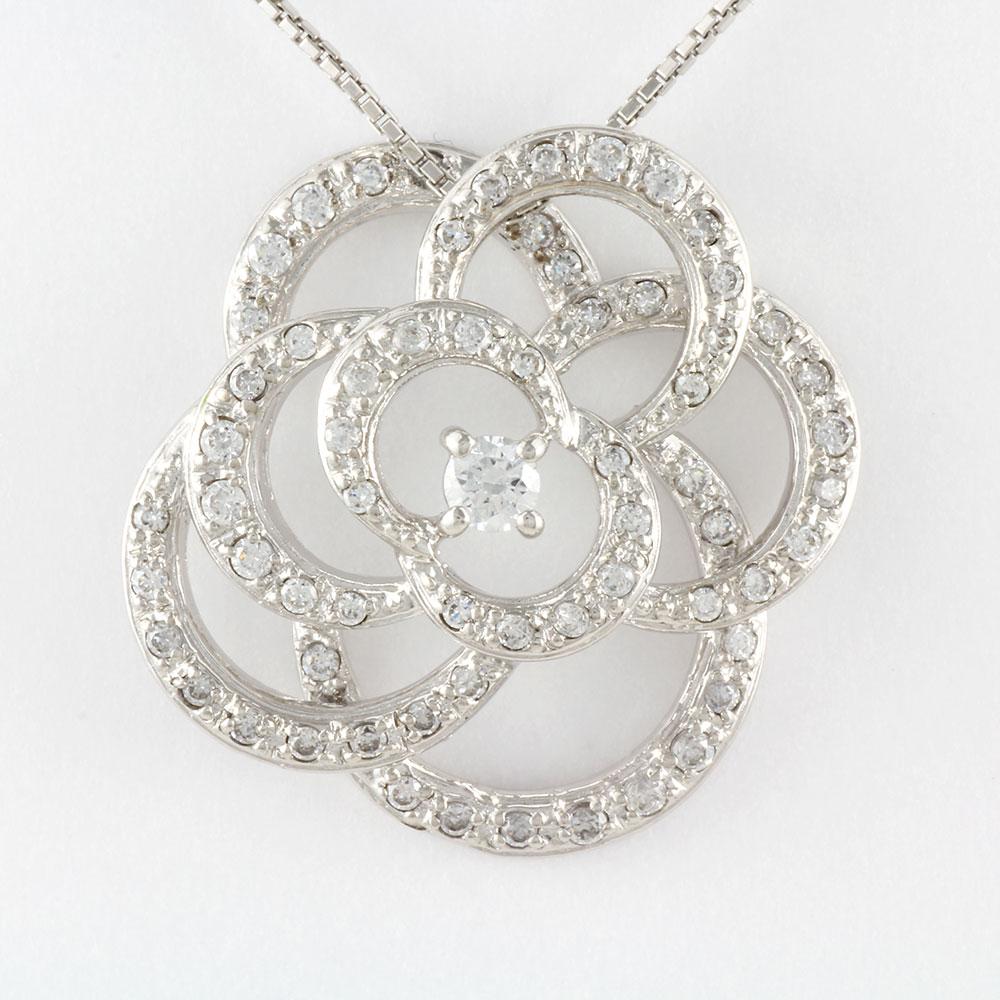 ダイヤモンド ネックレス 一粒 プラチナ ペンダント レディース 薔薇 バラ ローズ pt900 0.5カラット