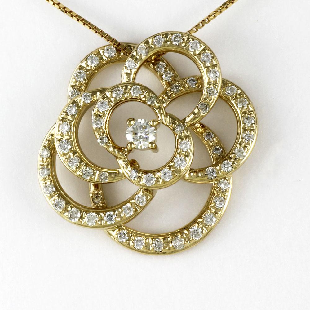 ダイヤモンド ネックレス 一粒 18k ペンダント レディース 薔薇 バラ ローズ 0.5カラット ゴールド k18 18金