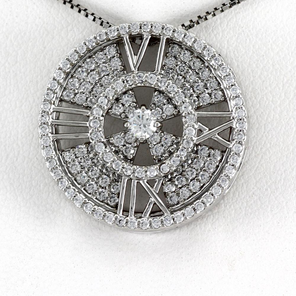 ダイヤモンド ネックレス 18k ペンダント レディース アンティーク 時計 クロック ゴージャス ゴールド k18 18金