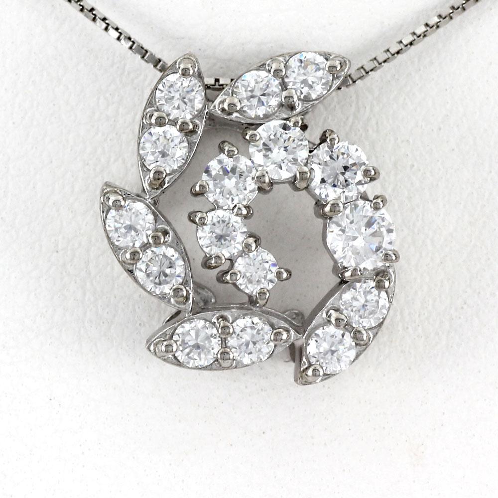 ダイヤモンド ネックレス ペンダント レディース フラワー プラチナ マーキス ゴージャス pt900