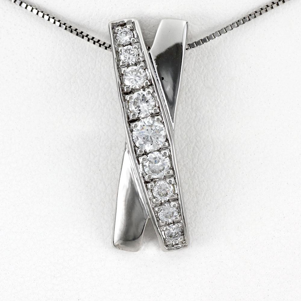 ダイヤモンド ネックレス 18k ペンダント レディース ゴージャス X字 クロス 0.5カラット ゴールド k18 18金
