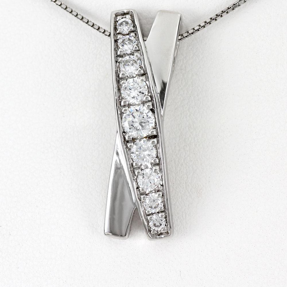 ダイヤモンド ネックレス ペンダント レディース プラチナ ゴージャス X字 クロス pt900 1.0カラット