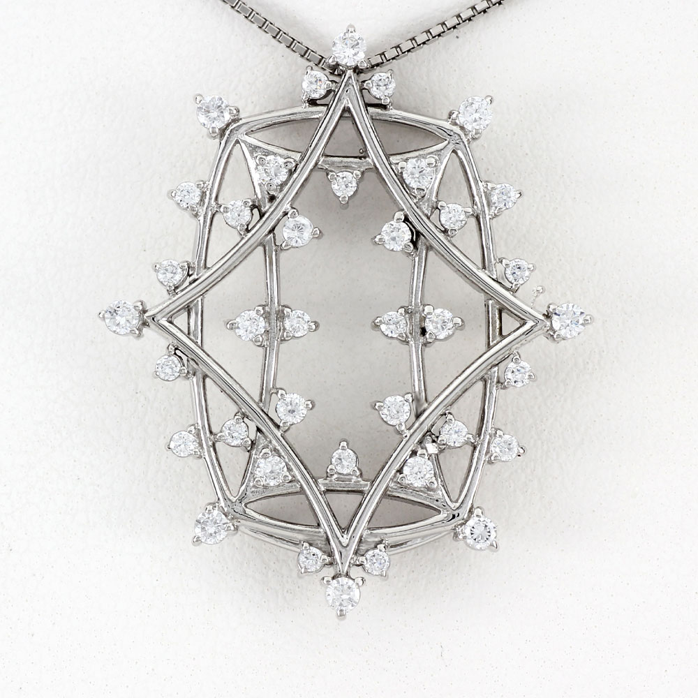ダイヤモンド ネックレス ペンダント レディース アンティーク プラチナ ゴージャス 透かし pt900 0.5カラット