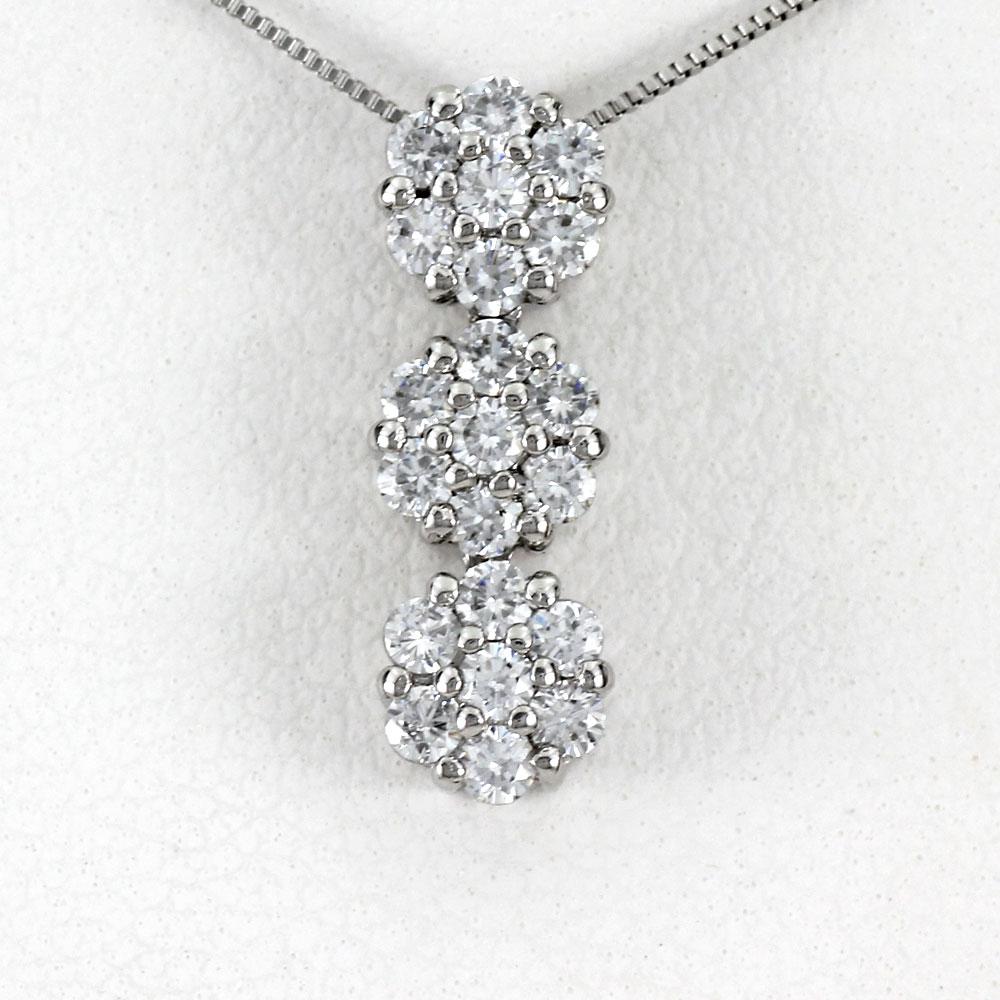 ダイヤモンド ネックレス 18k ペンダント レディース フラワー 揺れる ブラ ゴールド k18 18金