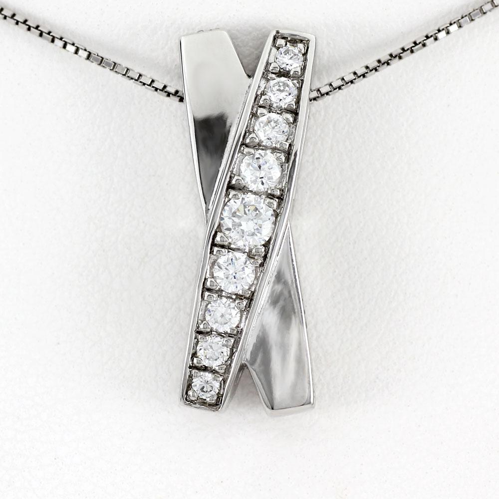 ダイヤモンド ネックレス ペンダント レディース プラチナ ゴージャス X字 クロス pt900 0.5カラット