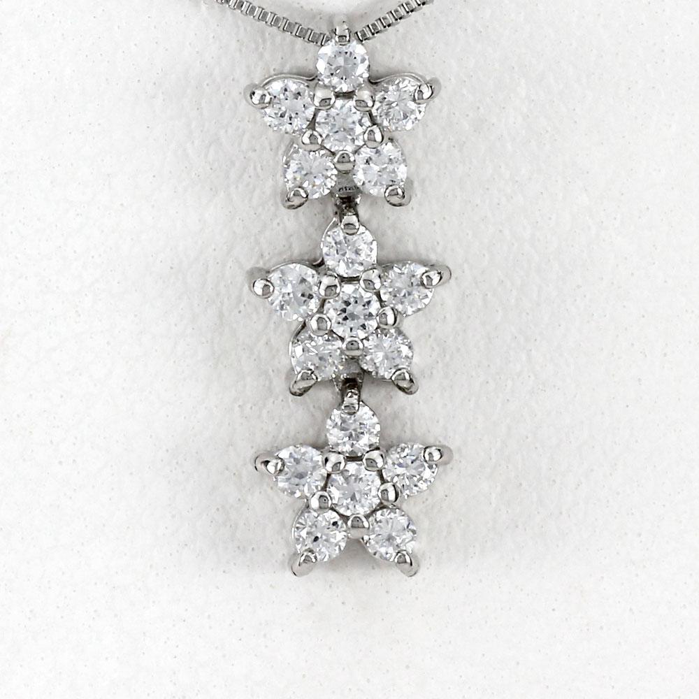 ダイヤモンド ネックレス ペンダント レディース フラワー プラチナ 揺れる ブラ pt900