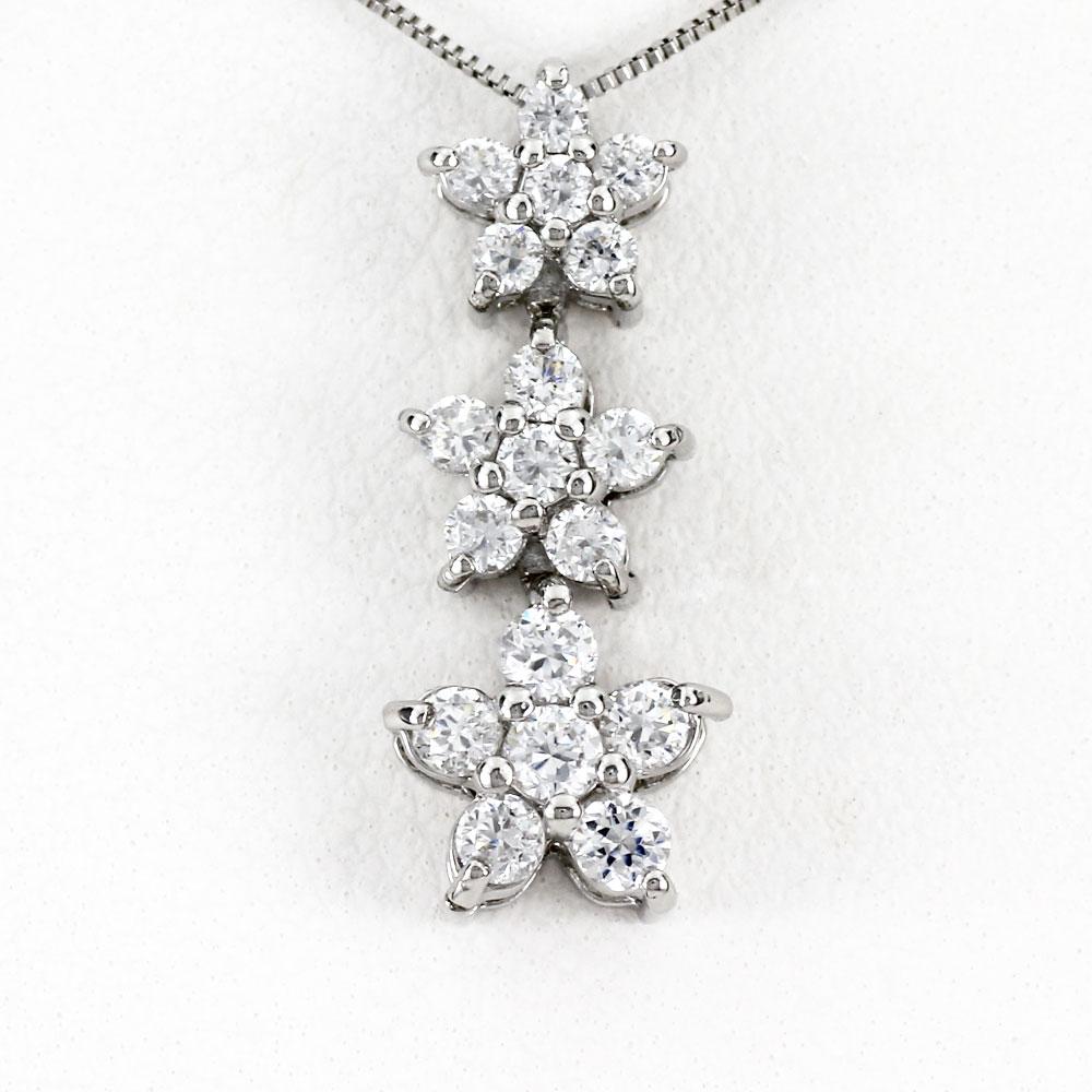 ダイヤモンド ネックレス ペンダント レディース フラワー プラチナ 揺れる ブラ グラデーション pt900 0.5カラット