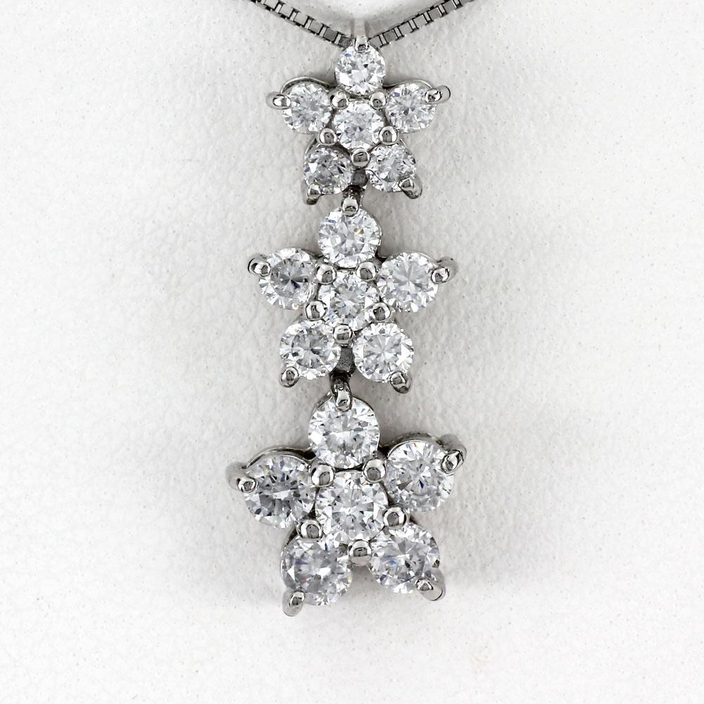 ダイヤモンド ネックレス 18k ペンダント レディース フラワー ゴージャス 揺れる ブラ グラデーション 1.0カラット ゴールド k18 18金