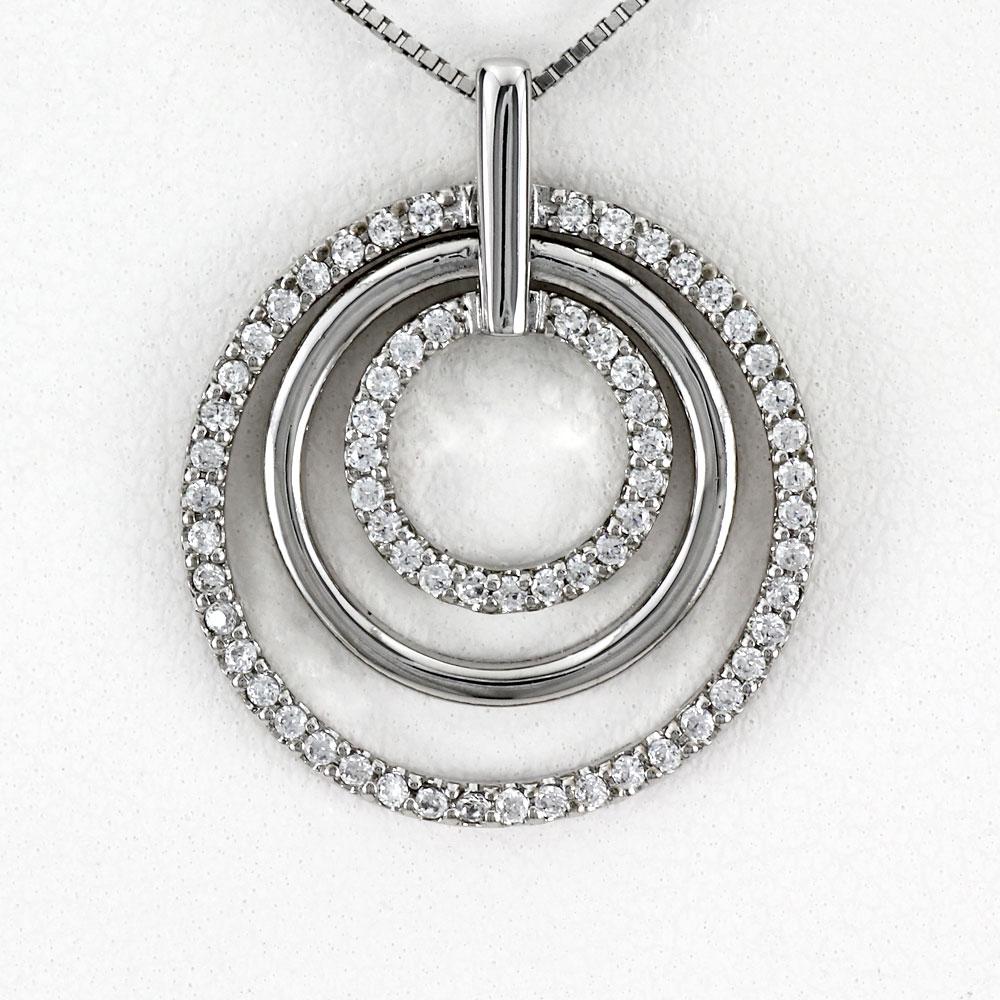ダイヤモンド ネックレス ペンダント レディース プラチナ サークル 3連 揺れる ブラ pt900
