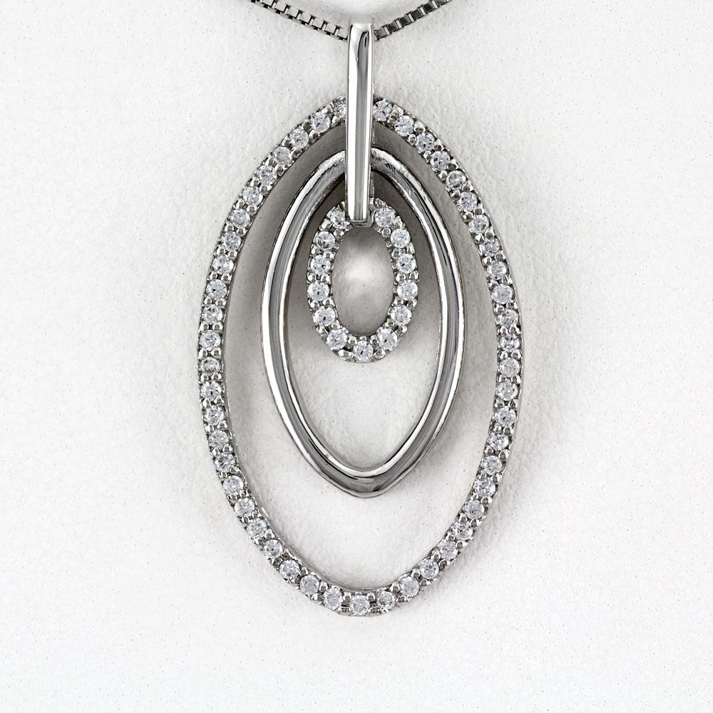 ダイヤモンド ネックレス ペンダント レディース プラチナ オーバル 3連 揺れる ブラ pt900