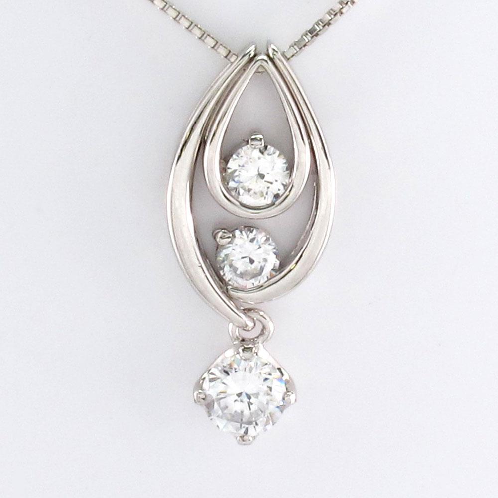 ダイヤモンド ネックレス 一粒 18k ペンダント レディース セパレート トリロジー 揺れる ブラ 0.5カラット ゴールド k18 18金