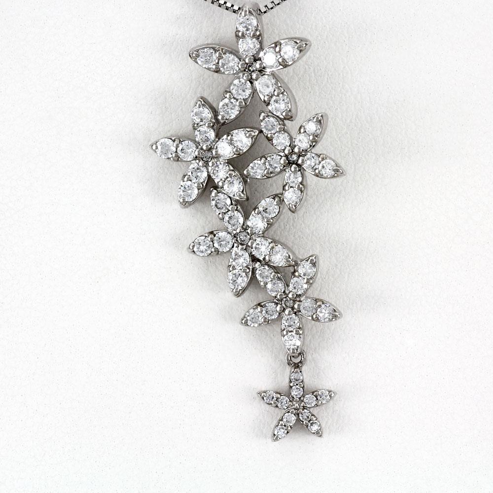 ダイヤモンド ネックレス ペンダント レディース フラワー プラチナ 揺れる ブラ ゴージャス pt900 1.0カラット